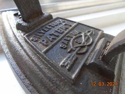 19.sz SALTER Viktoriánus SILVESTER'S PATENT angol szabadalmazott öntöttvas vasaló