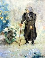 """NEOGRÁDY ANTAL ( 1861 - 1942 ) ÖREGNÉNE A VIRÁGOS KERTBEN ! """"KEDVES"""" FESTMÉNY !!!"""