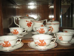 Herendi aponyi orange  teás készlet, háború előtti,1943-as pecsét