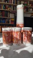 RITKASÁG! Wallendorf jelzett porcelán boros készlet (Berlin mintás)
