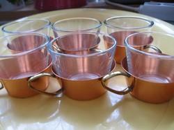 Réz tartóban üveg pohár készlet