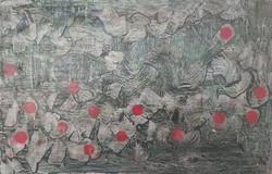 ABSZTRAKT OLAJF. Gyarmathy Tihamér modorában 57x90 cm (olaj-karton) ornamentikus, geometrikus formák