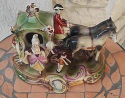 Német porcelán barokk jelenetes,lovas fogat, hintó gyönyörű mutatós különleges darab!
