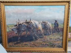 VISKI JÁNOS: SZÁNTÁS ÖKRÖKKEL c. olajfestménye GARANCIÁVAL! (vászon, 69 cm x 80cm)