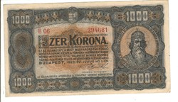 1000 korona 1923 2. Pénzjegynyomda aUNC