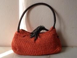 Régebbi narancssárga ESPRIT horgolt női táska, ridikül