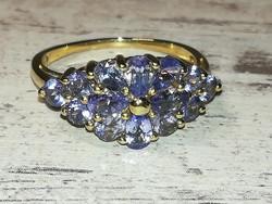 Tanzanit drágaköves arany gyűrű