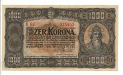 1000 korona 1923 2. Nyomdahely nélkül