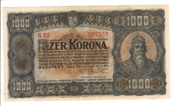 1000 korona 1923 1. Pénzjegynyomda