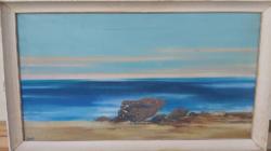 DEZSŐ JÓZSEF: Táj (olaj 50x90 KÉPCSARNOK) stilizált, absztrakt - Bernáth Aurél és Kmetty tanítványa