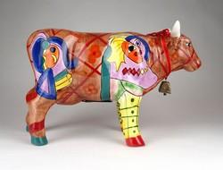 1D389 Picasso dekoros művészi kerámia tehén persely 29 cm