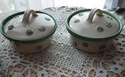 Magyar kézműves kerámia fedeles tálalók, tartók, dekoratív mintákkal, hibátlan
