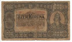 1000 korona 1923 1. Nyomdahely nélkül