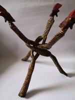Afrikai fa táltartó figurális festett