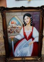 Osvath Blondel keretben ,olaj festmény.