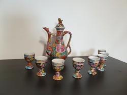 Régi Porcelán italos készlet 8 személynek, virágmintás