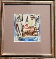 Vinkler László (1912-1980): Absztrakt jelenet - egyedi pasztellkép, keretezve