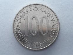 Jugoszlávia 100 Dínár 1986 - Jugoszláv 100 Dinara (dinarjev) 1986 külföldi pénz, érme