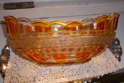 Antik üveg asztalközép-gyümölcsös tál