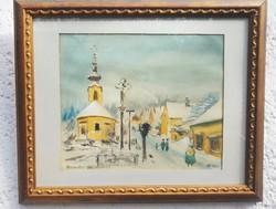 Tóth Béla Budakalász akvarell festménye