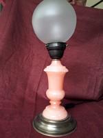 Réz talpú, réz foglalatú, rózsaszín márvány asztali lámpa, éjjeli lámpa, üveg búrával