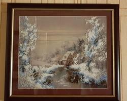 Gyönggyel kivarrt selyemkép Téli táj