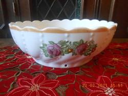 Antik RFK porcelán gyöngyös, rózsás tál