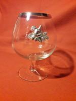 Vadászos, konyakos/boros üveg pohár, fém rátéttel