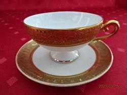 GLORIA cseh porcelán, antik kávéscsésze + alátét, dúsan aranyozott.