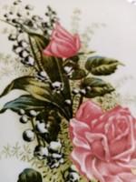 Rózsás fajansz lap keret nélkül