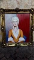 Osváth Blondel keretben ,olaj festmény Portré