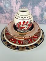 Mázas kerámia csomag, korondi váza tányér csomag