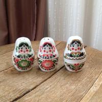 Régi Orosz porcelán Matrjoska baba só és bors, fűszer tartó