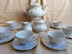 Gyönyörű és hibátlan Zsolnay 6 személyes teás készlet