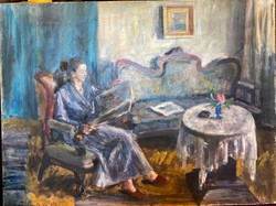 Orosz Gellért : Szobában olvasó hölgy (1959)