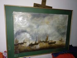 100x70 cm nagy olaj kép, olajfestmény, hajós festmény oil painting on paper