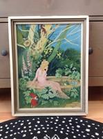 Régi kézzel festett mese jelenetes festmény fa keretben