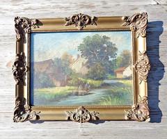 Szignós kartonra festett vidéki jelenetes olajkép