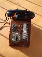 Antik telefon fa dobozban, bakelit kagylóval