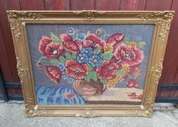 Blondel keretben Gyönyörű nagyméretű Gobelin Goblen  virágos pipacsos virágos  csendélet Gyűjtői