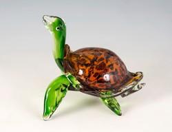 Modern stílusú, Murano üveg, teknősbéka figura. Zöld   színű üveggel.