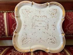 Szépséges, nagyméretű porcelán tálca, a XIX. század közepe, Marienbad, kézzel festett, Schlaggenwald