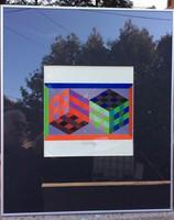 Viktor Vasarely egyedileg aláírt kompozíciója, keretezett azonnal falra akasztható!!