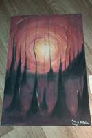 Lenyugvó nap. Akril, tempera és akvarell absztrakt festmény. 60x42 cm
