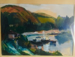 Mezőfi Tibor, festmeny; Hajóállomás