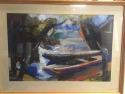 Mezőfi Tibor- festmény; Kikötő