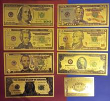 24 kt arany amerikai dollár sor bankjegy certificáttal