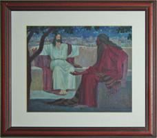 Kacziány Aladár - Jézus és Nikodemus  24x30 cm