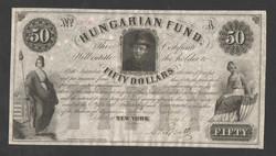 50 dollár 1852. Kézi piros sorszámozás, eredeti Kossuth Lajos saját kezű aláírásával! aUNC! GYÖNYÖRŰ