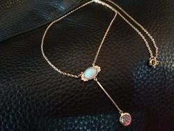 Szecessziós Opál-brill 14 kr.arany collier